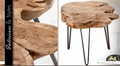 Table basse avec plateau en racine de teck Ø 60 cm