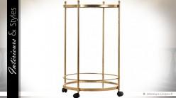 Table serviteur ronde à deux plateaux en métal doré et miroirs