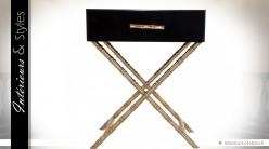 Table de chevet design noir et or en verre et métal