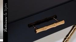table de chevet design noir et or en