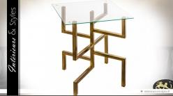 Table / Sellette design en métal doré et verre