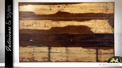 Tête de lit en planches d'acajou brut en 160 m