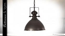Suspension industriel finition vieux bronze Ø 44 cm