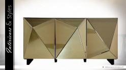 Buffet design Art Déco 3 portes habillage miroirs dorés