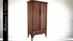Grande armoire de campagne à 2 portes en pin recyclé