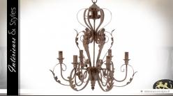 Lustre de style baroque en métal fini oxydé à six feux Ø 65 cm