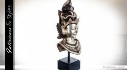 Statuette métal et laiton : tête de femme culture orientale 87 cm