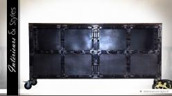 Buffet de style industriel en bois et métal coloris noir