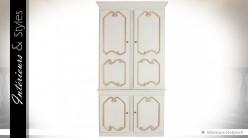 Armoire blanche et dorée charme rétro 210 cm