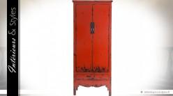 Armoire rustique rétro brocante rouge 2 portes 1 tiroir
