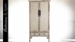 Armoire blanche à 2 portes et 2 tiroirs rétro brocante