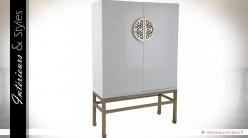 Armoire blanche design style oriental à 2 portes