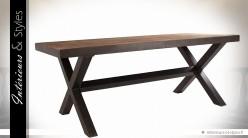 Table industrielle 200 cm en bois massif et métal