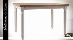 Table de cuisine campagne chic blanche et bois naturel