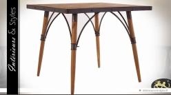 Table carrée vintage en bois et métal plateau marqueterie