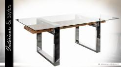 Grande table design métal verre et bois sculpté 220 cm