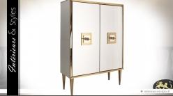 Armoire Art Déco de luxe en miroir argenté et doré