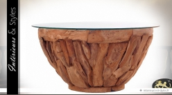 Table basse reond en teck et verre trempé Ø 90 cm
