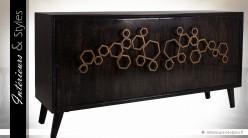 Buffet noir vintage style Art Déco ornementations métal