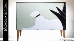 Buffet design façade en verre motif félin blanc (droit)