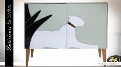 Buffet design façade en verre motif félin blanc (gauche)
