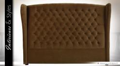 Tête de lit marron capitonnée en tissu polyester matelassé 173 cm