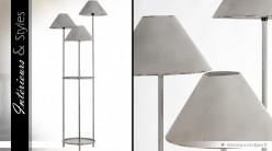 Lampadaire vintage à 3 pieds patine gris antique 164 cm