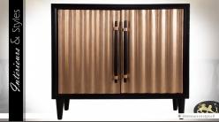 Buffet Art Déco à 2 portes façade noir et cuivre effet ondulé