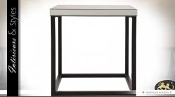 Bout de canapé carré design en miroir et métal noir