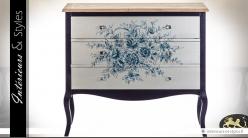 Commode charme à 3 tiroirs à décors fleuris