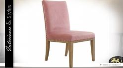 Chaise de salle à manger habillage tissu vieux rose