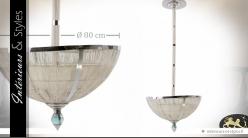 Grande suspension en métal en rotin blanc et métal chromé Ø 80 cm