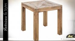 Bout de canapé carré pin massif recyclé style rustique