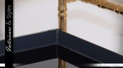 Table desserte design noir et or à 2 plateaux