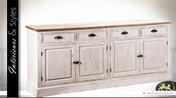Enfilade 4 portes 4 tiroirs patine blanc antique et plateau bois naturel