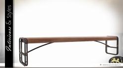 Grand banc de style industriel en bois et métal 220 cm