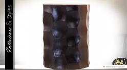 Sellette en suar massif finition noire stylisée Ø 35 cm