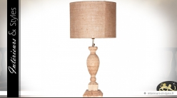 Lampe de salon en teck sculpté et abat-jour jute Ø 40 cm