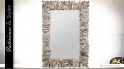 Grand miroir mural rectangulaire en bois flotté 102 cm