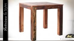 Table carrée rustique en teck massif recyclé 80 x 80 cm