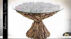 Table basse ronde bois flotté et plateau en verre trempé Ø 72 cm