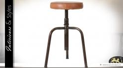 Tabouret style indus en métal avec assise cuir fauve 66 cm