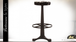 Tabouret de bar en métal avec assise en fourrure