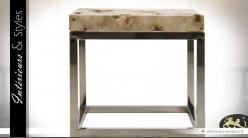 Table basse carrée en pierre naturelle et acier inoxydable argenté