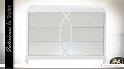 Commode blanche contemporaine 3 tiroirs avec miroirs