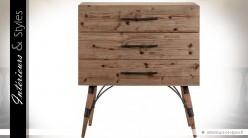 Commode industrielle vintage en bois et métal