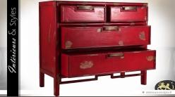 Commode rouge de style oriental et rustique à 4 tiroirs