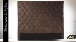 Tête de lit capitonnée marron en microfibre en 140