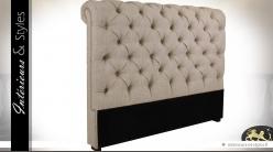Tête de lit en tissu capitonné coloris lin écru en 167 cm