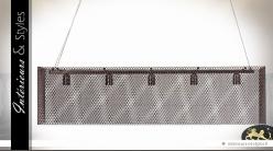 Suspension design rectangulaire en métal brun et grillagé